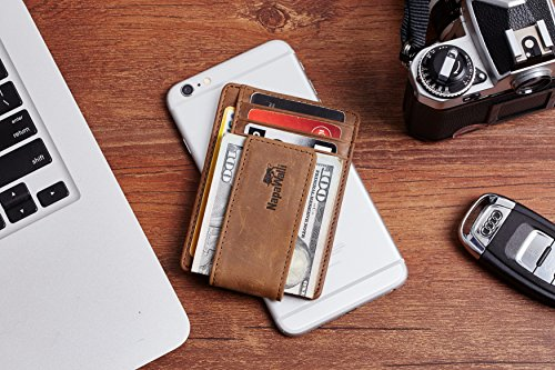 NapaWalli Genuine Leather Magnetic Front Pocket Money Clip Slim Minimalist Wallet (Crazy Horse Khaki) by NapaWalli (Image #4)