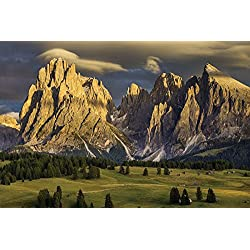 Nature Poster Canvas Art Print (35x24inch) - Alpe di siusi italy nature mountains dolomites