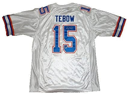 a31ca901b Image Unavailable. Image not available for. Color  Tim Tebow Signed Jersey  -  15 White Nike ...