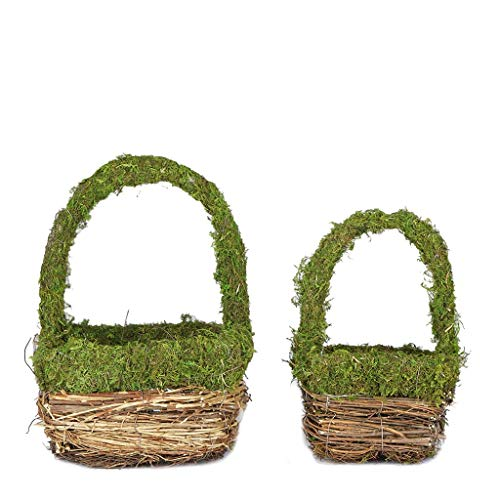 BalsaCircle 2 Brown Green Natural Moss Baskets Planter Boxes with Handles Centerpieces Wedding Home Decorations Supplies
