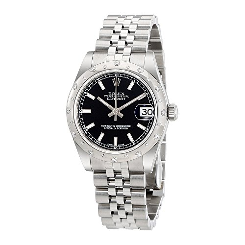 Rolex Oyster Perpetual Datejust 31 Black Dial Stainless Steel Rolex Jubilee Automatic Ladies Watch 178344BKSJ
