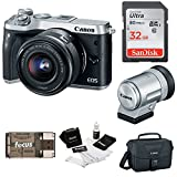 Canon EOS M6 Mirrorless Camera 15-45mm Lens & EVF-DC2 Viewfinder(Silver) +Bundle
