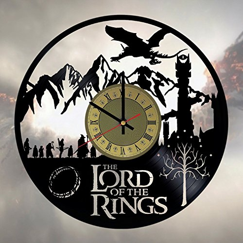 The Lord of the Rings Gandalf Frodo Baggins Aragorn Art Decor Vinyl Wall Clock - gift idea for girls boys sister and brother - home & office bedroom nursery room wall decor - customize your clock
