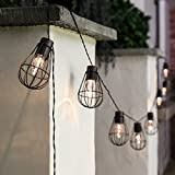 Outdoor String Lights,Waterproof 10LED bulbs with metal Lantern Nets Solar Garden Fairy Lights Patio Lights,Ambience Decorative Lights Vintage String Lights Great for Outdoors, Café, Yard (Warm white)