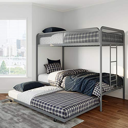DHP 4299419 Triple Grey Metal Bunk Bed Frame Twin Size
