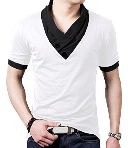 - YTD 100% Cotton Mens Casual V-Neck Button Slim Muscle Tops Tee Short Sleeve T- Shirts (US Large, White)