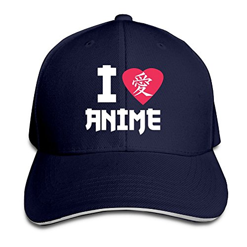 Creative I Love Anime in Japanese Lover Fashion Design Unisex Cotton Sandwich Peaked Cap Adjustable Baseball Caps Hats