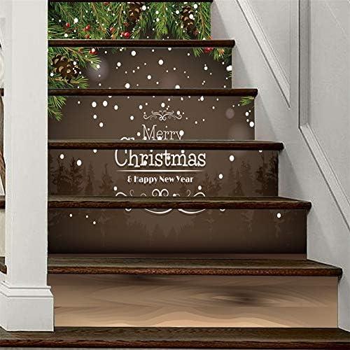 Decoración Feliz Navidad DIY Escaleras pegatinas 3D autoadhesivo Escalera Pegatinas- impermeable Vinilo removible Calcomanías 40