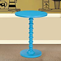 Asense Round Wood Spindle Colorful End/Side Table (Turquoise Blue )