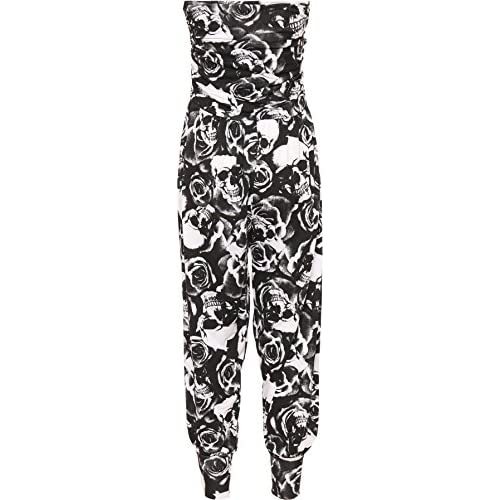 5e55b18d540 cheap WearAll Women s Printed Harem Jumpsuit - Skull Roses - US 8-10 UK (