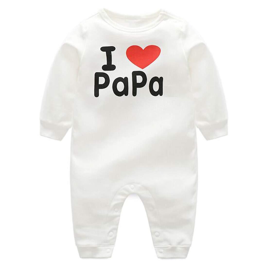 Baby Strampler I Love Papa//Mama Jumpsuit Schlafanzug Neugeborenen M/ädchen Jungen Overall Langarm Baumwolle Bodysuit Fr/ühling und Herbst Romper