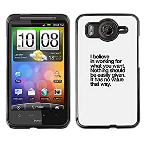 FlareStar Colour Printing Believe Value Inspirational Text Inspiring cáscara Funda Case Caso de plástico para HTC Desire HD / inspire 4G / G10