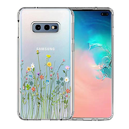 Galaxy S10e Case, Unov Clear with Design Soft TPU Shock Absorption Slim Embossed Floral Pattern Protective Back Cover for Samsung Galaxy S10e 5.8in (Flower Bouquet)