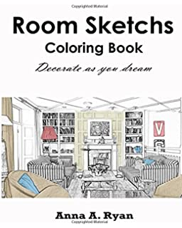 Room Sketchs Coloring Book Decorate As You Dream Adult
