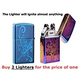 USB Lighter 2 Pack - Dual Arc Electronic Lighter - Electric Plasma Lighter - Tesla Coil Rechargeable Cigarette - Windproof Flameless Butane Free Airport Safe - Perfect Gift FIRELUXOR (Blue, Pink)