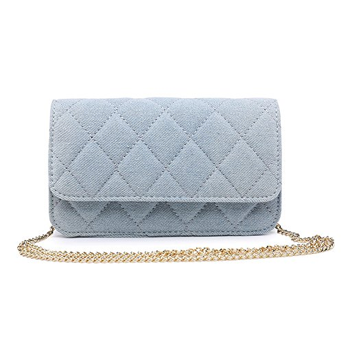(JUMENG Fashion Denim Quilted Shoulder Bag for Women Waist Pack Chain Crossbody)