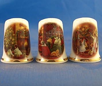Juego de 3 dedales de porcelana de porcelana para colgar /árbol de Navidad.