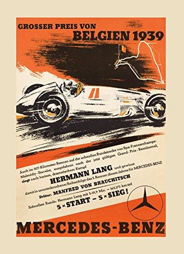 "1939 Belgium Mercedes Benz Car Race Sport Vintage Poster Repro 16"" X 22"" Image"