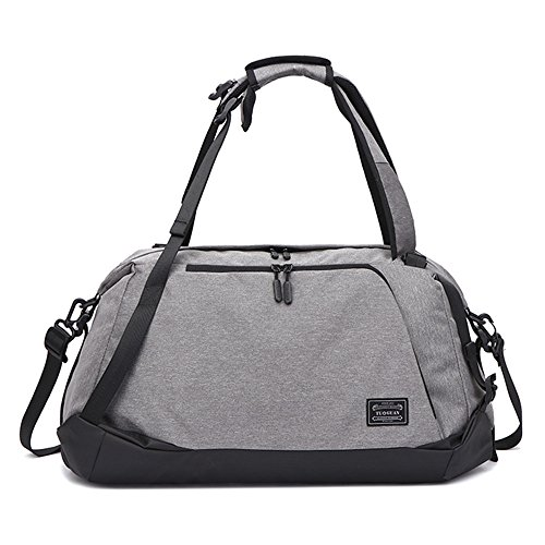 Gym Duffel Bag Sports Travel Backpack Weekender Overnight Tote Bag with Shoe Compartment (Gray-A) Review