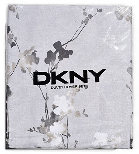 DKNY Wallflower Printemps Vines Duvet Cover 3pc Set Floral Watercolor Spring Branches Cover 100% Cotton Bedding Grey Tan Gray Reversible (Queen, Grey)