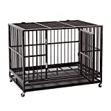 "Sliverylake 3XL 48"" Dog Cage Crate Kennel – Heavy Duty Double Door Pet Cage w/Metal Tray Wheels Exercise Playpen (48"", Golden)"
