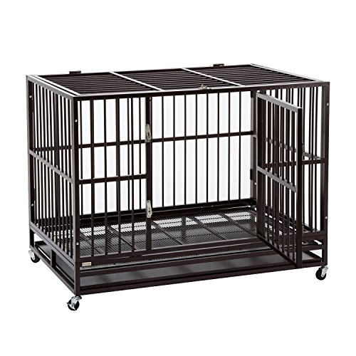 Sliverylake 3XL 48'' Dog Cage Crate Kennel - Heavy Duty Double Door Pet Cage w/ Metal Tray Wheels Exercise Playpen (48'', Golden) Sliverylake