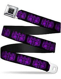 Buckle-Down Seatbelt Belt - BD Skulls w/Wings Black/Purple - 1.0