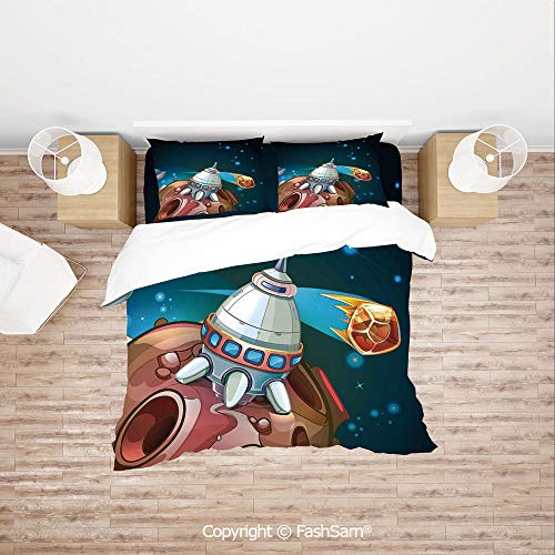 FashSam Duvet Cover 4 Pcs Comforter Cover Set Spacecraft Planets Outer Space Theme Cute Rocket Stars Galaxy Cosmic Illustration for Boys Grils Kids(King)