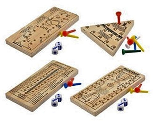 Wooden Peg Board Travel Games, Golf, Basketball, Football and Triangle Jumping Peg, 4-ct Set