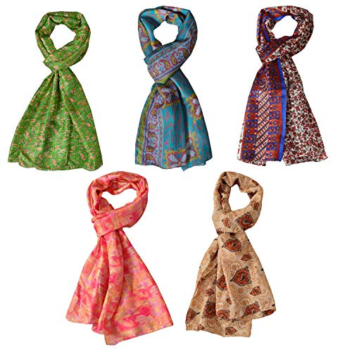 SalsaNights Scarves Bulk Printed Pure Silk Scarf Wholesale Shawl Lot of 5 Pcs Stoles