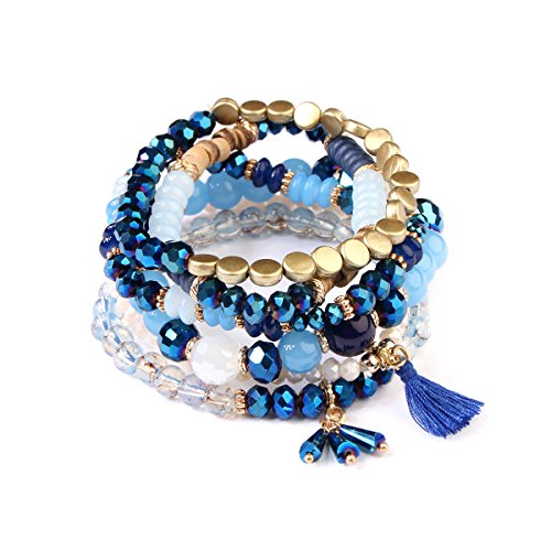 kpajewelry Multi Strand Bead Layering Statement Bracelets - Colorful Beaded Stretch Bangles, Leaf Charm (Coin Bead/Tassel - Navy)