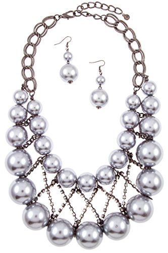 Karmas Canvas Bulky Faux Pearl Crisscross Rhinestone Bib Necklace Set (Gray) Wholesale Rhinestone Necklaces