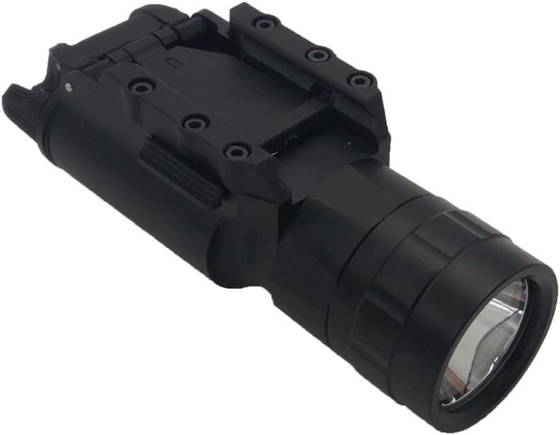 CYBERDAX X300Estilo Pistola Arma de Luz Lámpara LED de Bolsillo para táctico de Caza Airsoft Picatinny Rail Weaver Montura, Composición de 2-en-1con Cargador y Dos baterías Recargable
