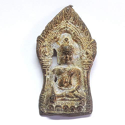 poppip Mix Metal Thai Buddha Amulet Plate Seated on Lotus Throne Vintage Old Figure 63.5 cm