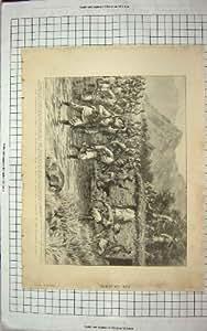Old Original Antique Victorian Print 1898 Bunerwals Barandu River Figure Skating Palace 219Rg181