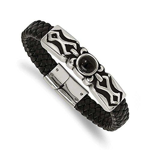 En acier inoxydable Poli et Patiné avec Bracelet en cuir pour femme Noir Onyx JewelryWeb - 21 cm