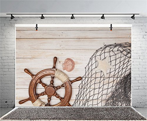 CSFOTO 5x3ft Background for Rudder Fishing Nets on Rustic Wood Photography Backdrop Sailing Sea Concept Marine Themed Birthday Party Child Kid Adult Portrait Photo Studio Props Polyester Wallpaper by CSFOTO (Image #1)