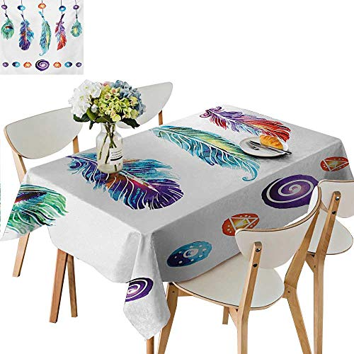 Decorative Tablecloth,Several Tribal Feather Collection in Psychedelic Hippie Universe Cosmos Harmony Forms Tablecloth Plastic Great for Buffet Table,53W x 92.5L Inches Black and White
