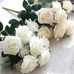 JJH Artificial Flowers 1Pcs Branch Silk Roses Tabletop Flower 54