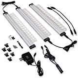 Nome Dimmable Under Cabinet Kitchen lighting Fixture Low Voltage Warm White Aluminium Linear Lights 12 inch 3 Panel Kit Led Bar with IR Sensor Super Bright with Plug Adapter and Cable Management