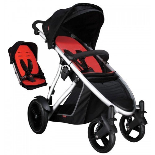 Phil & Teds Verve Pushchair Buggy Stroller - Black/Red + Double Kit + Raincover