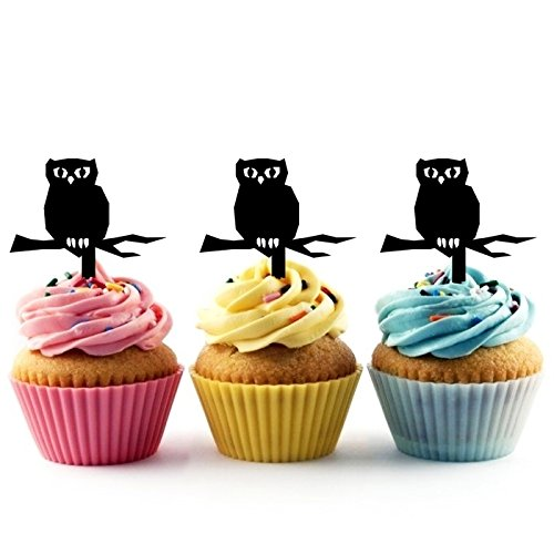 TA0489 Halloween Owl Silhouette Party Wedding Birthday Acrylic Cupcake Toppers Decor 10 pcs