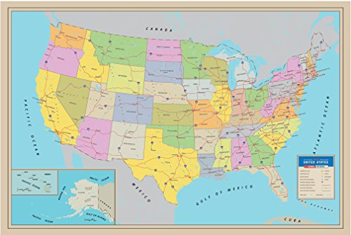 Pro Image Premium Paper - Extra Thick Great United States Wall Poster Map US map 50 State freeway map 24 x 36 price tips cheap