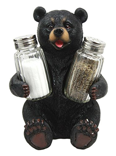 Bear Collectible Figurine (Atlantic Collectibles Cuddling Black Teddy Bear Salt Pepper Shakers Holder Figurine)