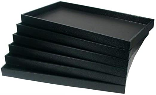 New 2 Black Plastic Stackable Jewelry Display Tray case