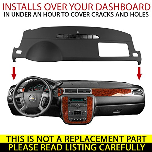 DashSkin Molded Dash Cover Compatible with 07-14 GM SUVs w/o Dash Speaker in Dark Titanium by DashSkin (Image #1)
