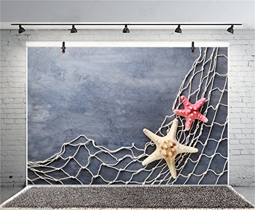 CSFOTO 8x6ft Background for Fishing Nets Starfish on Grunge Cement Wall Photography Backdrop Sea Concept Marine Themed Birthday Party Child Kid Adult Portrait Photo Studio Props Vinyl Wallpaper by CSFOTO (Image #1)