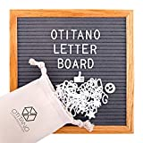 Felt Letter Board 10x10 inch - 290 Changeable Felt Plastic Letters, Numbers and Symbols Emojis for Message Board Sign and Wooden Oak Frame - Wall Mount Hanger, Drawstring Storage Bag by Otitano
