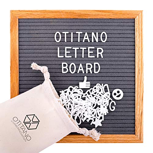 Felt Letter Board 10x10 inch - 290 Changeable Felt Plastic Letters, Numbers and Symbols Emojis for Message Board Sign and Wooden Oak Frame - Wall Mount Hanger, Drawstring Storage Bag by Otitano by OTITANO