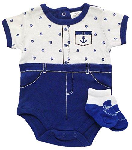 Baby Essentials Short Sleeve Bodysuit and Socks Gift Set (6 Months, Sailor Suit)